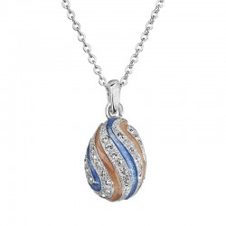 Striped Crystal Egg Necklace
